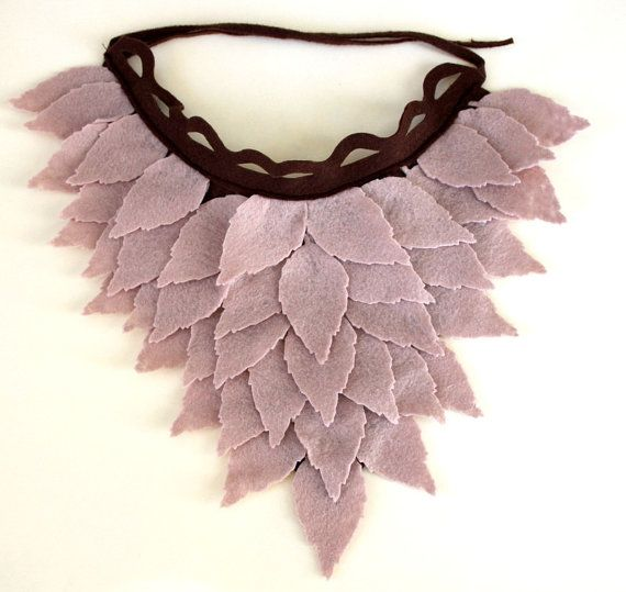 Stone Color Felt Leaves Unusual Neck Warmer Collar by sesiber, $33.00
