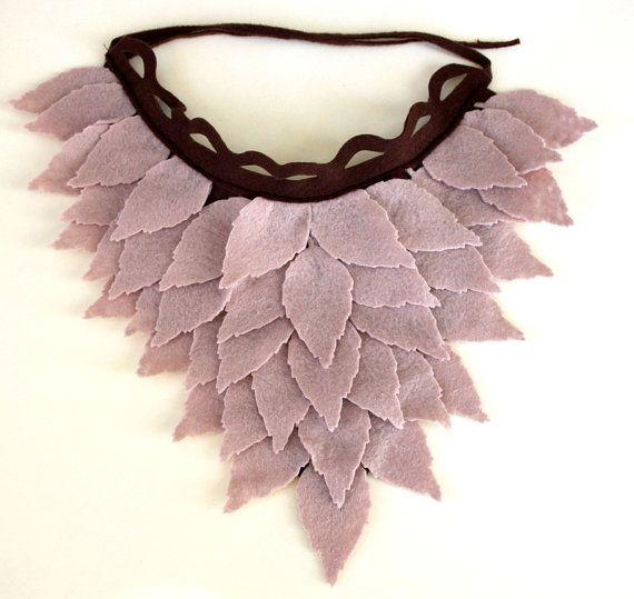 Stone Color Felt Leaves Unusual Neck Warmer Collar by sesiber, $33.00