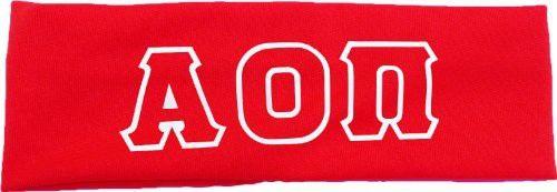 Alpha Omicron Pi Sorority Greek Letters Headband (Red)