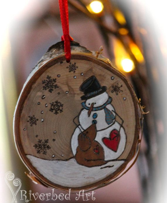Christmas Pyrography Snowman and Dog Ornament