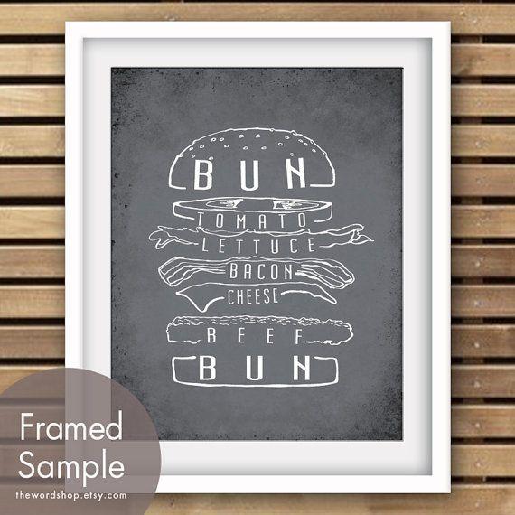 ハンバーガー アート アート プリント 木炭のおすすめ 3 つ買うし1 つ無料で入手 バーベキュー by TheWordShop