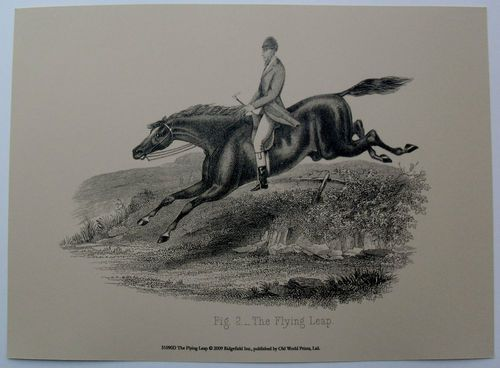 $18.99  Horse AND Rider ART Print THE Flying Leap BY OLD World Prints | eBay