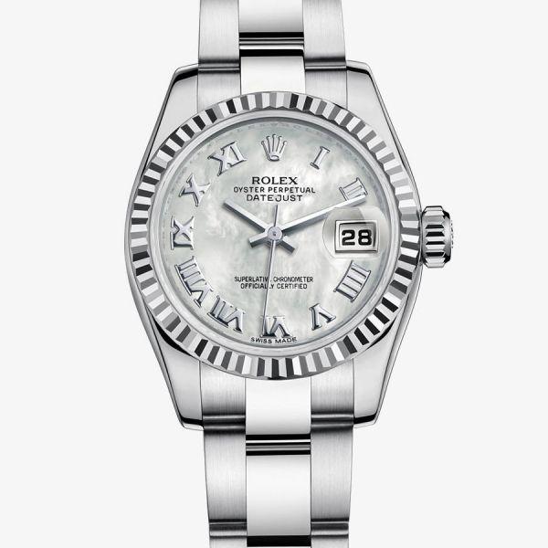 La Cote des Montres : Prix du neuf et tarif de la montre Rolex - Collection Femmes - Lady-Datejust - Cadran nacre blanche - 179174-0065 - 7000 euro