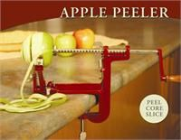 The Victorio Apple Peeler with tightens securely onto counter or table upto two inches thick. Core slice and peel apples or potatoes in one easy operation.