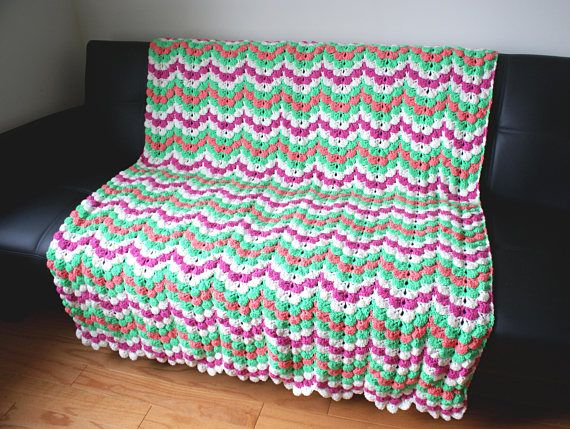 Tropical Flowers Petals Ripple Throw Multi Color Handmade
