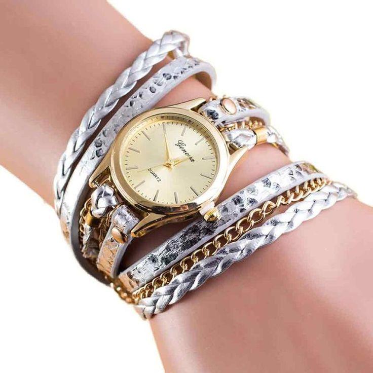 Wrap Around Leather Bracelet Watch