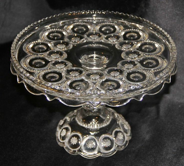 Vintage L.E. Smith Moon u0026 Stars Clear Pressed Glass Pedestal Cake Stand Plate & 433 best Cake Plates images on Pinterest | Cake plates Cake ...