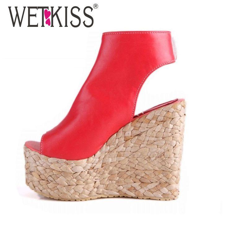 Купить товарWETKISS 34 43 Богемия Плетеные Соломенные Клинья Лодыжки Wrap Вырезы Сандалии Высокие Каблуки Сандалии Платформы Летние сандалии женская обувь в категории Сандалиина AliExpress.