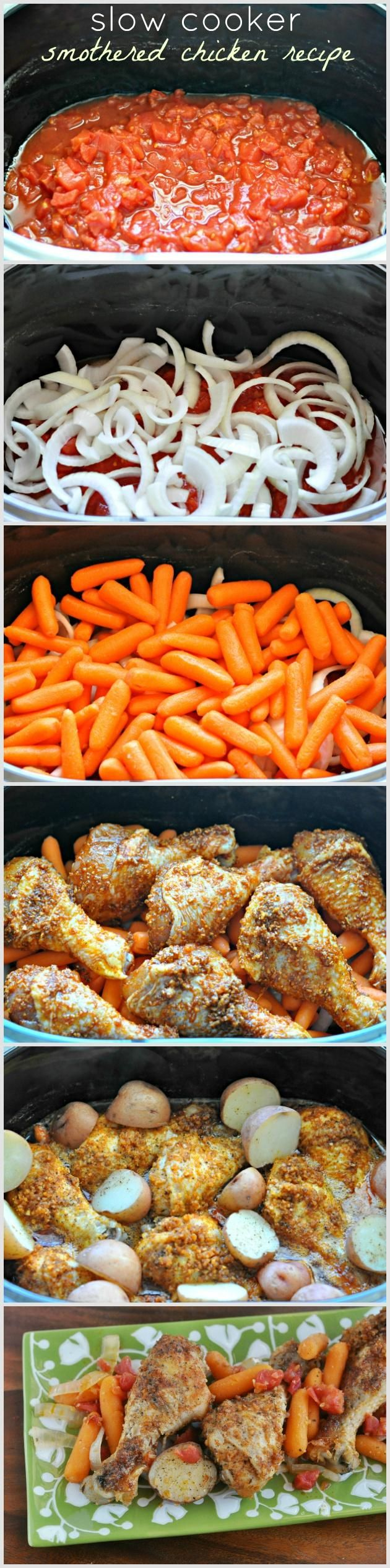 slow cooker smothered chicken recipe with chicken legs, carrots, onions, potatoes and  Spice Swiss steak seasoning.