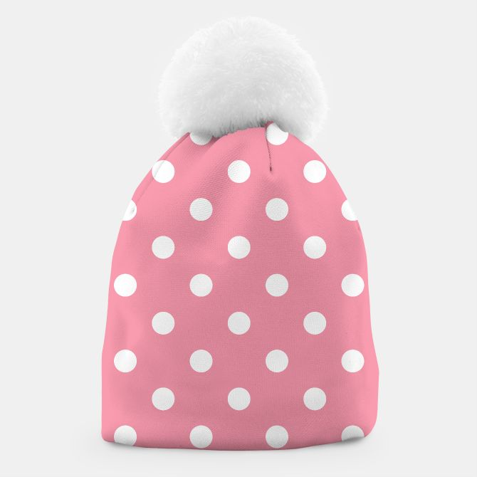 Vintage Beanie pink with white Dots