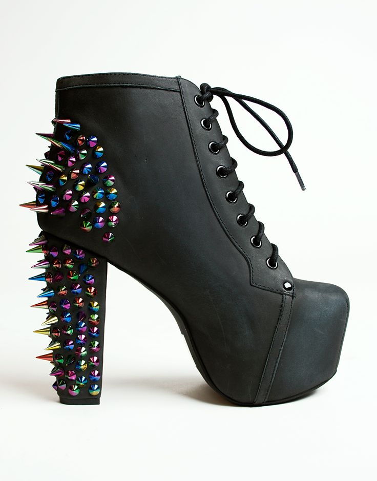 Jeffrey Campbell Lita Spike in black and rainbow spiky stud detail across back and down the heel.