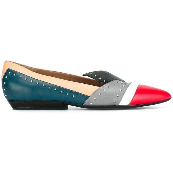 Pollini studded colour block ballerinas (1.379.990 COP) ❤ liked on Polyvore featuring shoes, flats, ballerina flats, multi colored flats, leather ballet shoes, studded ballet flats and multi color flats