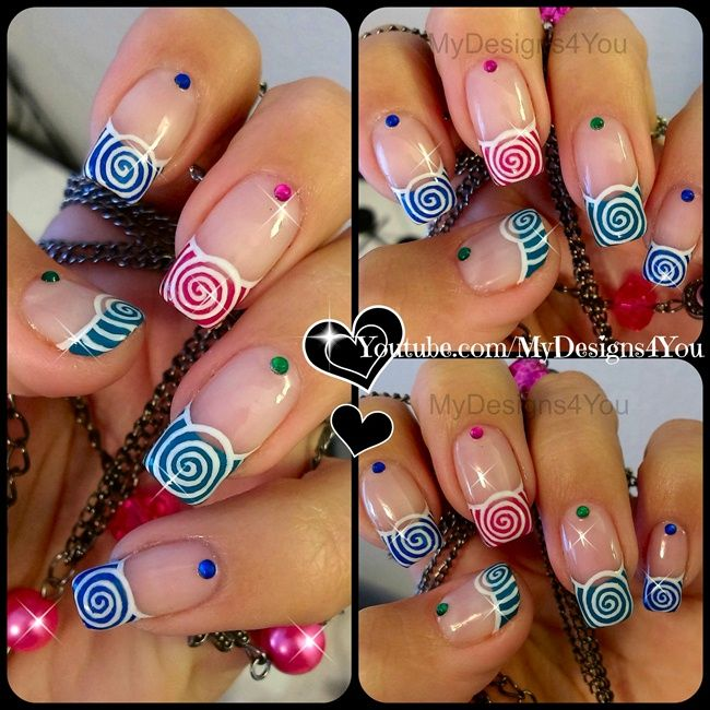 Spring Nail Art Multicoloured Spirals by MyDesigns4you via @nailartgallery #nailartgallery #nailart #nails #mixedmedia #holiday #spring #multicolored #summer #swirl #springnails #swirls #spirals #summernails #mydesigns4you
