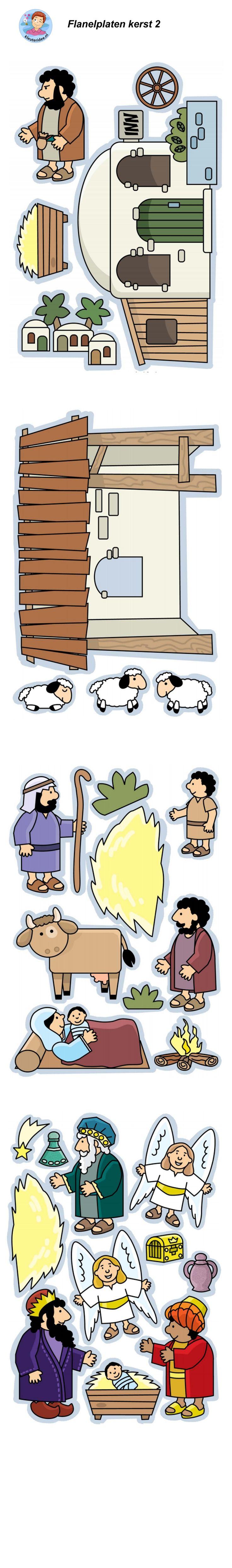Kerst, de geboorte van Jezus, flanelplaten voor kleuters 2, kleuteridee.nl ,Christmas nativity, Flannel Bible Sheets, free printable