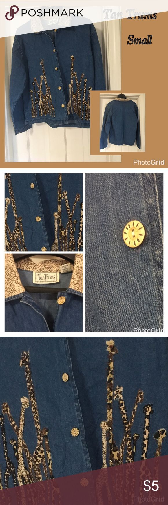 Jacket by Tan Trums Beautifully 100% cotton with giraffe print collar and buttons, giraffe bead designs, light weight size small Tan Trums Jackets & Coats Jean Jackets