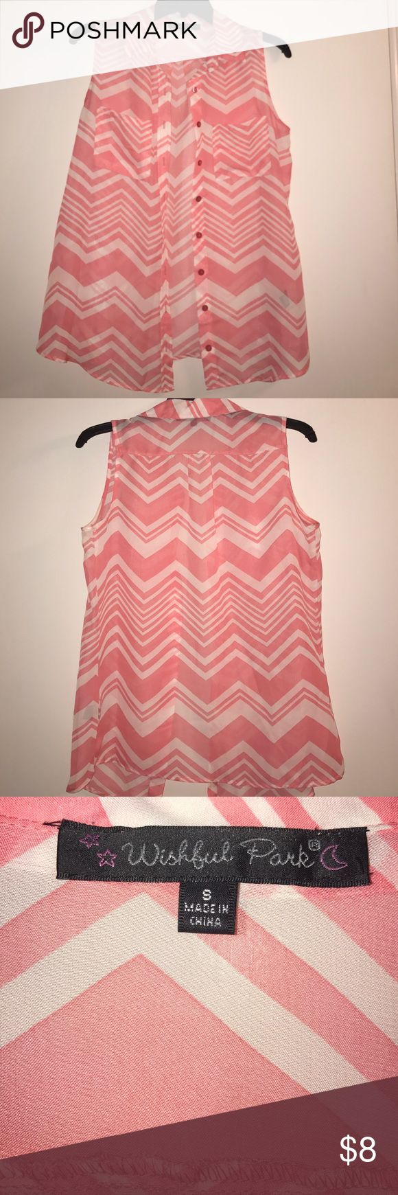 Small Sheer Chevron Top Coral and white sheer chevron top. Only worn once! Wishful Park Tops Blouses