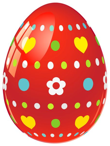 easter png | Red Easter Egg with Flowers and Hearts PNG Picture