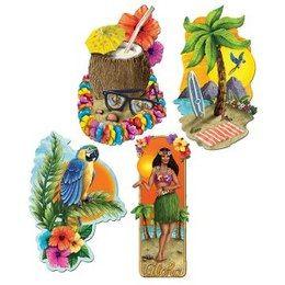 Vier prachtige tropische luau decoraties. Verhoogt de sfeer op ieder tropisch feest!