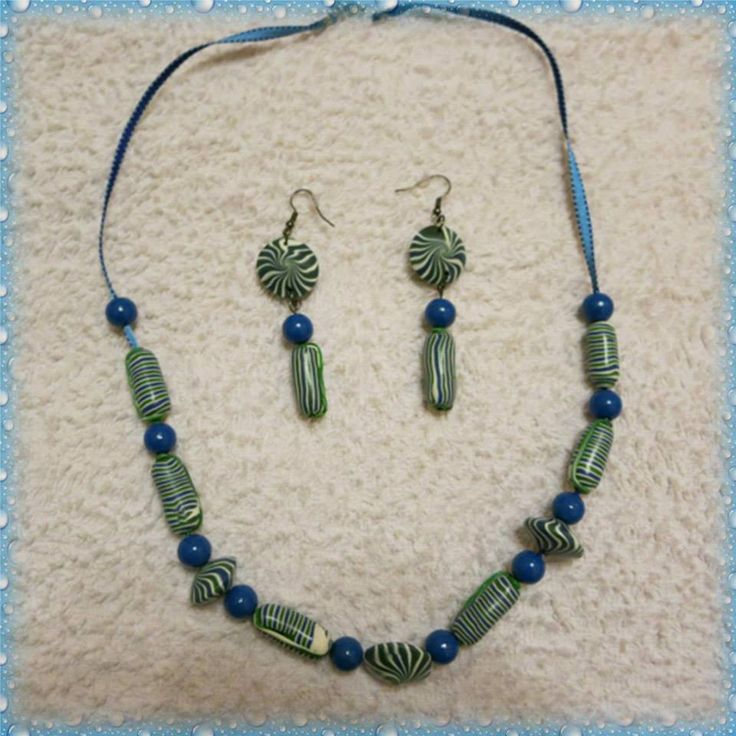 Hand made polymer clay necklace and earrings https://www.facebook.com/Anna-Donna-%C3%A9kszer-231340573715505/