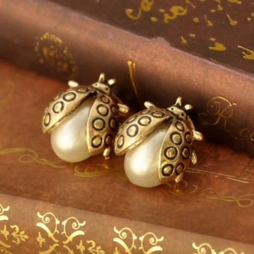 Cute Ladybug Pearl Stud Earrings