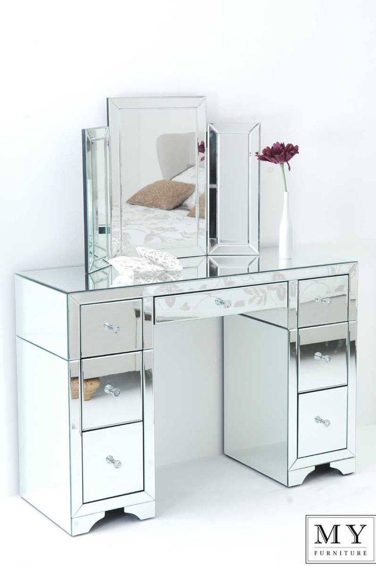 Large Mirrored Furniture Dressing Console Table Desk