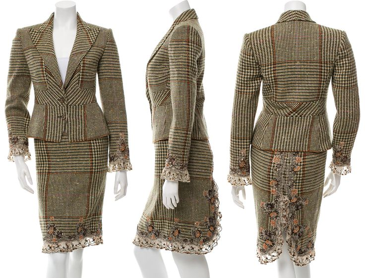Valentino Wool Houndstooth Patterned Skirt Suit