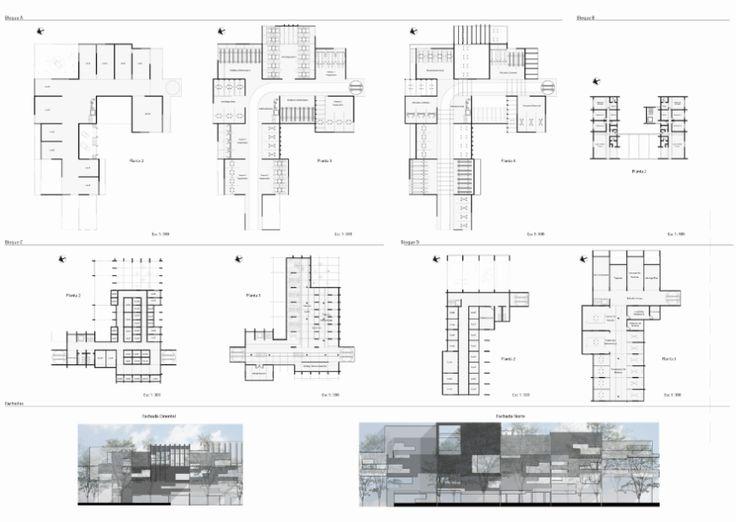 Planimetria Bloque de Talleres, Vivienda Y Concesionario / Cortes Bloque A y B