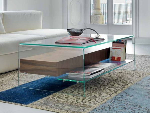 Bridge is available also with a wooden  drawer and can be also completed by  a glass shelf.