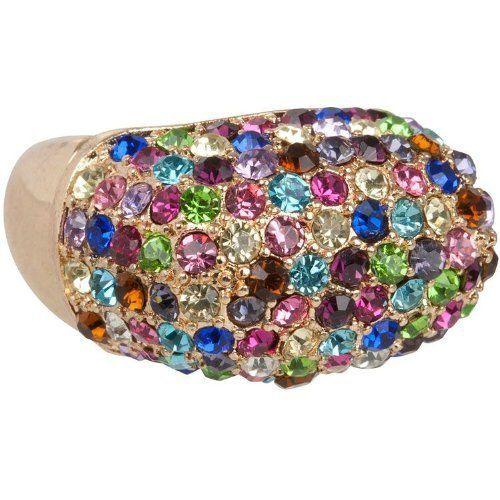 Brilliant Multi-Colored Crystal Squared Dome Ring in Gold Tone fits Sizes 6 - 9 Heirloom Finds. Save 57 Off!. $12.99. Dazzling Multi-Color Crystal Ring. Arrives in a Gift Box - Perfect for Gift Giving or Treat Yourself. Ring Will Stretch to Fit Size 6-8 Makes the Perfect Gift. Wear it to the Office or Out to Dinner. Brilliant sparkle meets classic style