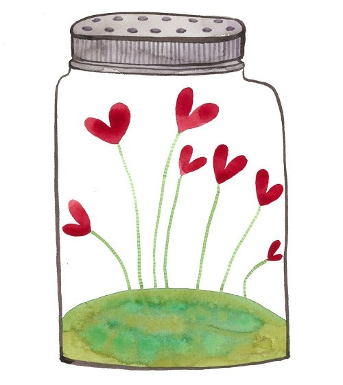 Jar of Love ( for V-Day watercolor project)
