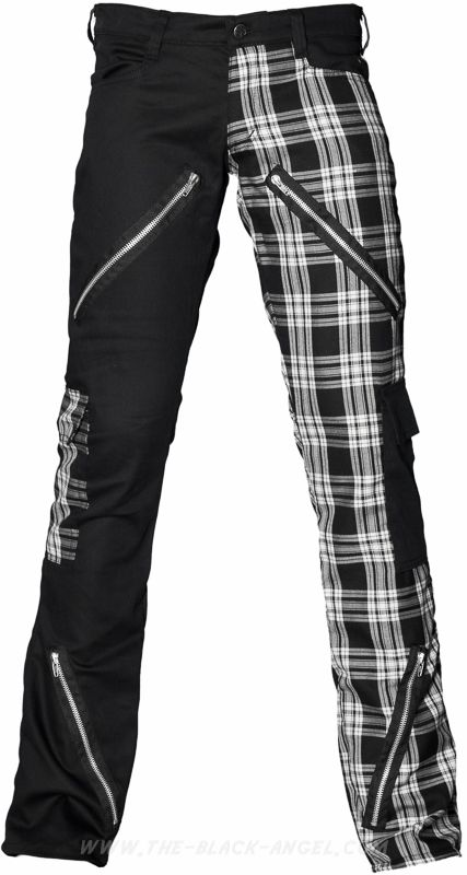 "Black & tartan punk pants from the ""Black Pistol"" line of gothic men's clothing by Aderlass."