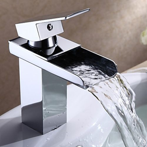 Chrome Finish Modern Single Handle Waterfall Bathroom Sink Faucet - FaucetSuperDeal.com.  Price: $70.99