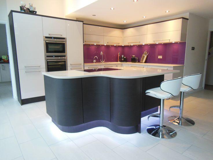 Great Bespoke High Gloss Beige Kitchen By Elements Kitchens. Curvy Island In Dark  Oak   Wenge Veneer. Stunning Purple Glass Splashback As A Finishing Touu2026