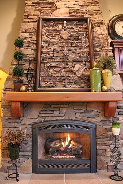 Love this stacked stone fireplace