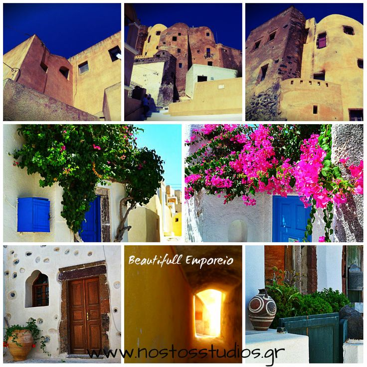 A labyrinth, with narrow alleys, between staircases climbing almost vertically, miniature doors, overhead bridges between houses, arches, domes, small rooms –all characterized by the renowned plasticity of the malleable volcanic material with irregular, flowing shapes and astonishing forms. All these and more can be found in beautifull Emporeio Santorini!!!  #Emporeio #Santorini #NostosStudios