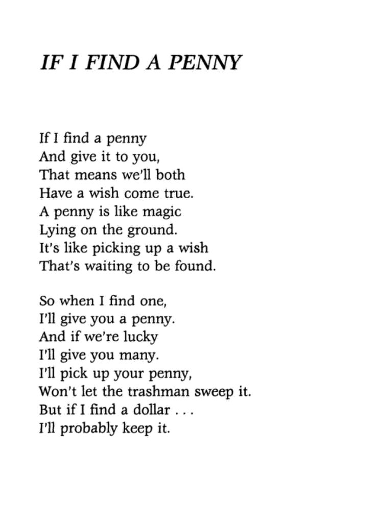 If I Find A Penny By Jeffrey Moss Poems Poems
