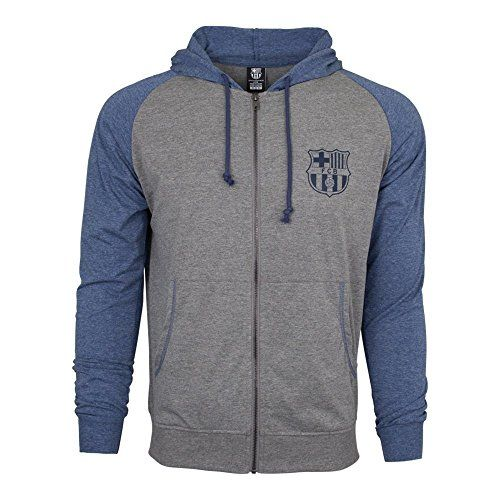 Fc-Barcelona-Hoodie-Fz-Summer-Light-Zip-up-Jacket-Grey-blue-Adults-M-0