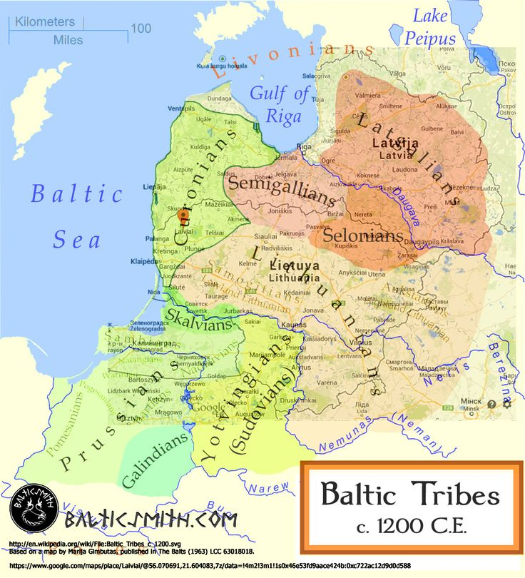 I superimposed a map of the Baltic tribes ca. 1200 on a present-day political map of the eastern Baltic region covering mostly Latvia and Lithuania. You can see the territories of all the Baltic tribes.