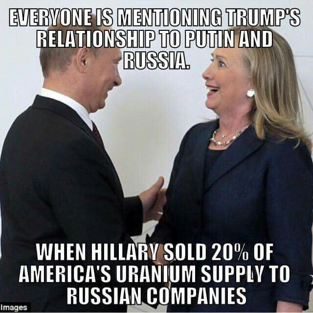 Russia is the largest producers of uranium, and this multi-billion dollar deal that Bill and his CRIMINAL wife for the same office facilitated, will make Russia the owner of at minimum 20% of US uranium production. This is a national security matter that was approved by the State Department while Clinton was its chief. Russians are the largest producers of uranium, and this multi-billion dollar deal that allegedly a former United States president and his now-candidate wife for the same…