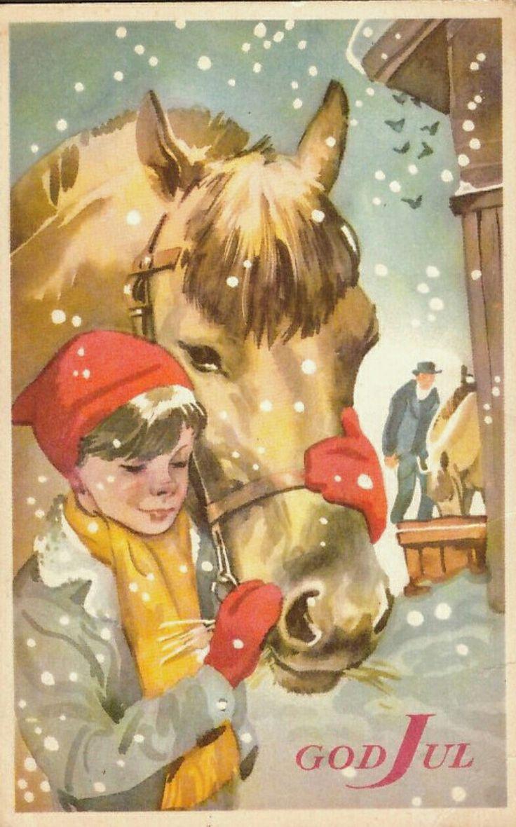 Julekort Gunnar Bratlie. Hest/gutt. Utg Aune
