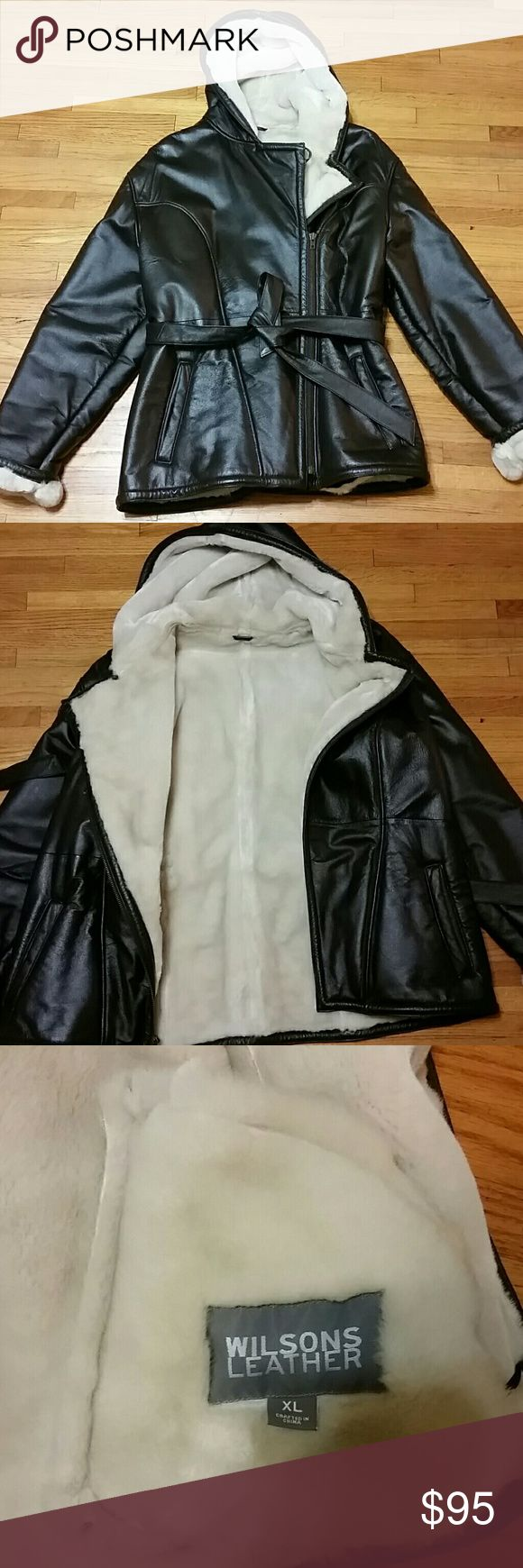 Wilson Leather coat color chocolate mocha Women's leather Wilson coat size XL great condition practically new wore it one time only Wilson Leather Jackets & Coats