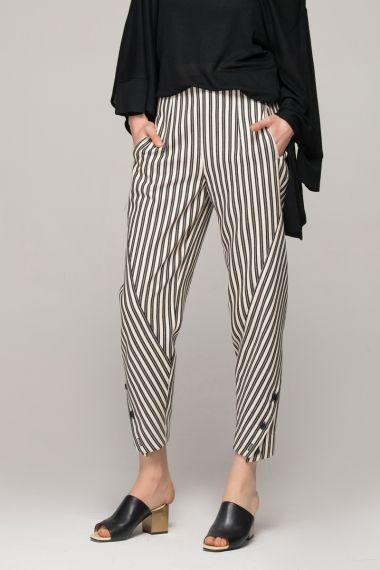 Peg trousers in monochrome stripes