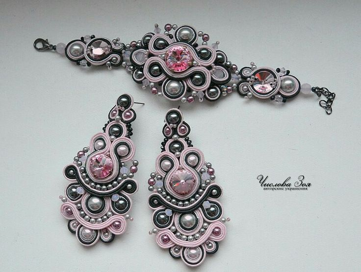 .soutache bracelet and earrings