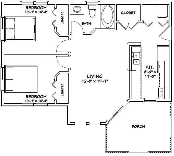 36x26 House 36x26h1c 820 Sq Ft Excellent Floor Plans House Plan With Loft Floor Plans House Plans