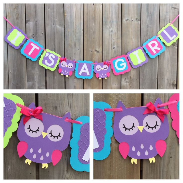 IT'S A GIRL Owl banner, purple blue pink green owl banner, baby shower decoration, gender reveal, owl theme banner, baby shower owl banner by lilcraftychickadee on Etsy https://www.etsy.com/ca/listing/527006477/its-a-girl-owl-banner-purple-blue-pink