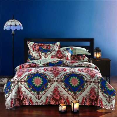 bohemian style 100cotton queen bedding sets rosered bedclothes 4pcs bed flat linensheet