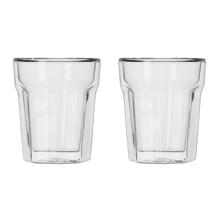 baccarat double wall latte mug glass set/2