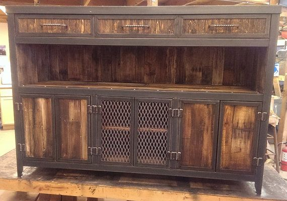 Rustic Reclaimed Wood Industrial Media Cabinet 043 by IndustEvo
