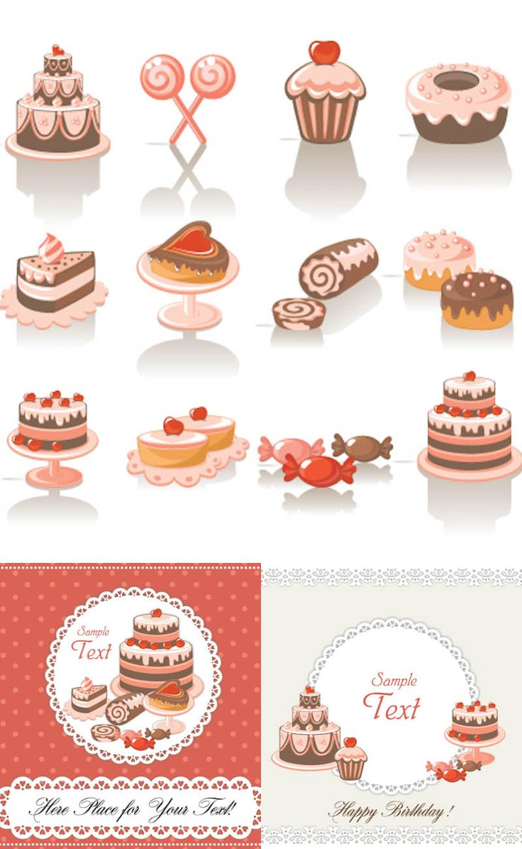 "3 Sets of vector decorative sweets design elements and two card templates with cakes, candies, cupcakes and different sweets. Format: EPS, CDR, SVG stock vector clip art and illustrations. Free for download. Set name: ""Decorative sweets design elements vector"" for…"