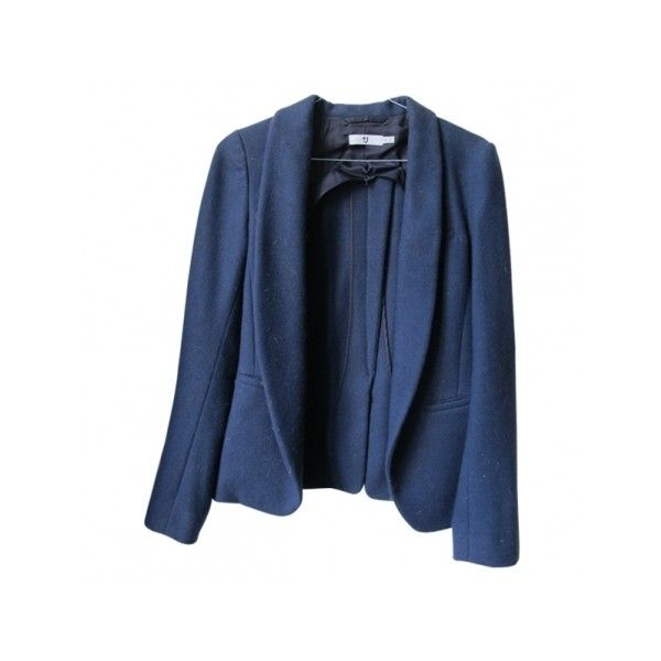 Pre-owned Uniqlo Jackets (3.905 RUB) ❤ liked on Polyvore featuring outerwear, jackets, fitted jacket, uniqlo jacket, blue jackets, blue wool jacket and uniqlo